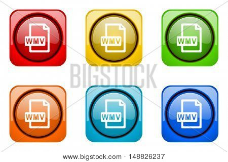 wmv file colorful web icons