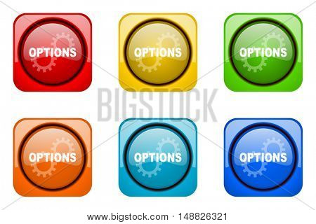 options colorful web icons