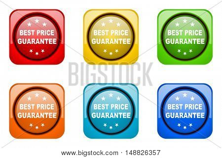 best price guarantee colorful web icons