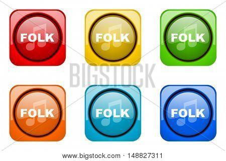 folk music colorful web icons
