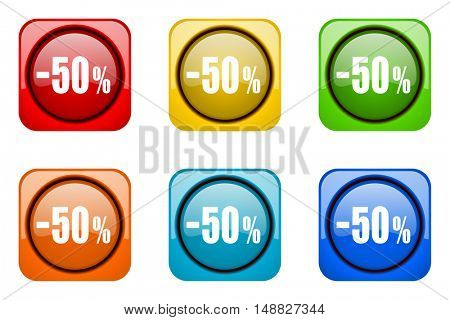 50 percent sale retail colorful web icons