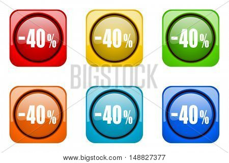 40 percent sale retail colorful web icons