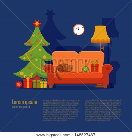 Christmas room interior in colorful cartoon flat style. Christmas tree, gifts, decoration, sofa, cat,  clock, floor lamp.   Cozy noel xmas night celebration interior vector illustration.