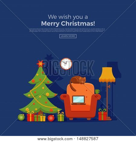 Christmas room interior in colorful cartoon flat style. Christmas tree, gifts, decoration, armchair, cat,  laptop, floor lamp.   Cozy noel xmas night celebration interior vector illustration.