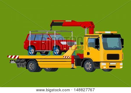 Car towing truck Online, evacuator Online, Online roadside assistance car towing truck, Business and Service Concept, Flat 3d vector isometric illustration.
