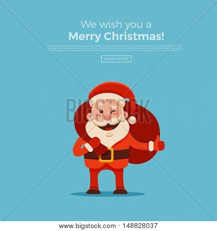 Cartoon Santa Claus for Your Christmas and New Year greeting Design or Animation. Vector isolated illustration of happy Santa Claus holding sack with gift box in colorful flat style