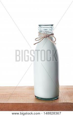 Old Glass Bottle Full Of Fresh Milk