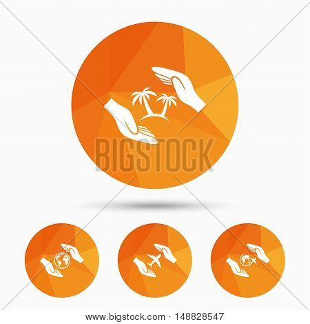Hands insurance icons. Palm trees symbol. Travel trip flight insurance symbol. World globe sign. Triangular low poly buttons with shadow. Vector