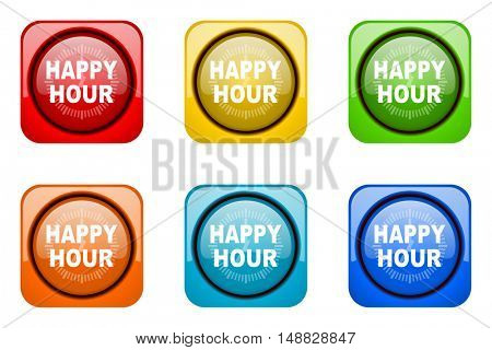 happy hour colorful web icons