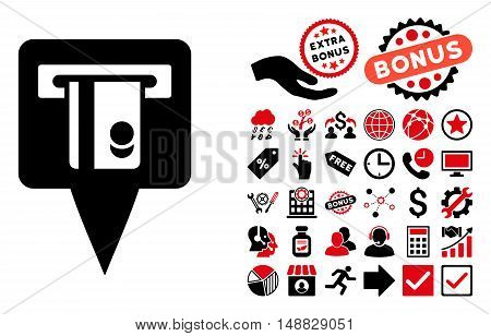ATM Terminal Marker pictograph with bonus images. Vector illustration style is flat iconic bicolor symbols, intensive red and black colors, white background.