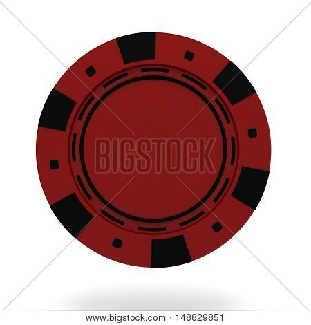 single red casino chip isolated on white background. 3d rendered illustration
