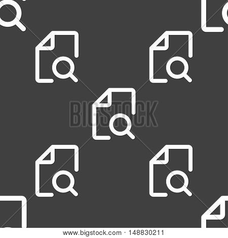 Search Documents Icon Sign. Seamless Pattern On A Gray Background. Vector