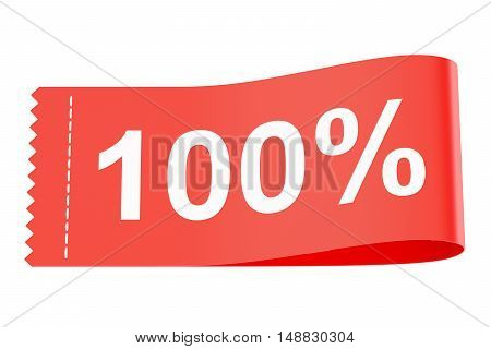 100% discount clothing tag 3D rendering isolated on white background