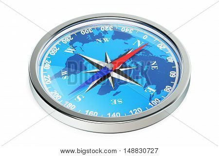 Magnetic compass closeup 3d rendering isolated on white background