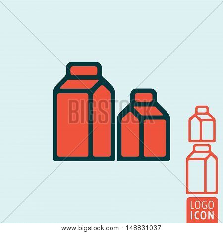 Carton package icon. Milk or juice carton package symbol. Vector illustration