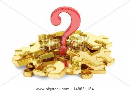 Question mark puzzle concept 3D rendering isolated on white background