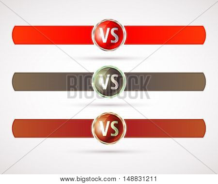 Set of versus logo. VS letters. Fight competition symbol. Vector illustration.
