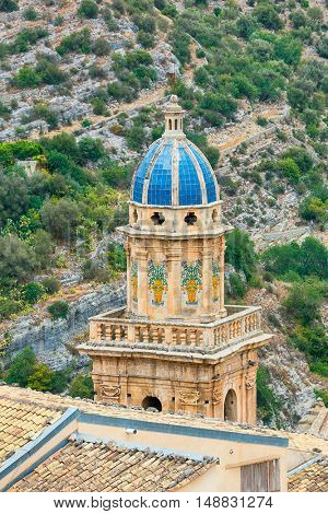 Italy, Sicily, Ragusa Ibla, view of the baroque town and S. Maria dell'Itria Baroque Church bell tower (18th century)