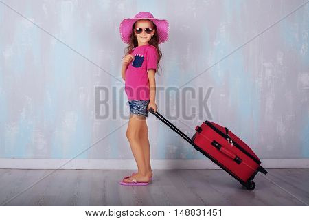 child gathered in travel. The concept of travel and lifestyle.