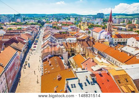 KOSICE, SLOVAKIA - August 10, 2016 - View to Elizabeth street and Kosice city center from the top of Saint Elizabeth Cathedral Kosice Slovakia.
