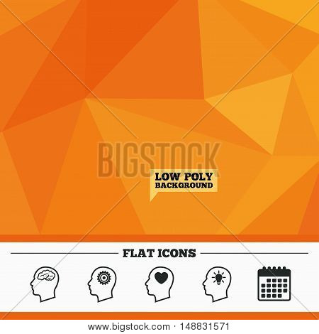 Triangular low poly orange background. Head with brain and idea lamp bulb icons. Male human think symbols. Cogwheel gears signs. Love heart. Calendar flat icon. Vector
