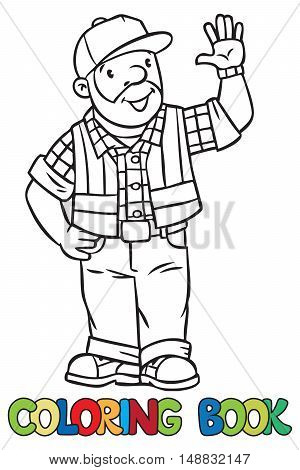 Coloring picture or coloring book of funny driver or worker. A man dressed in a plaid shirt, vest with reflective stripes and jeans Profession series. Childrens vector illustration.