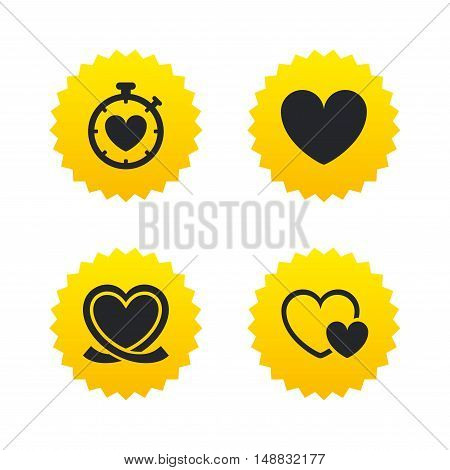 Heart ribbon icon. Timer stopwatch symbol. Love and Heartbeat palpitation signs. Yellow stars labels with flat icons. Vector