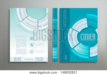 Vector green-blue template: cover, flyer, brochure, book, report business