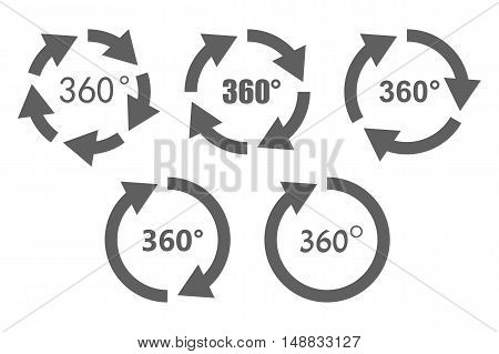 360 degree overview arrow icon set. Circular panorama photography icons. Used for virtual visit of popular place.