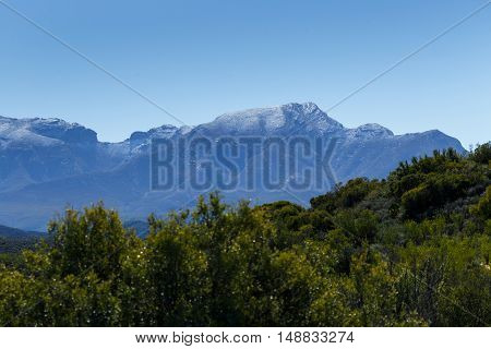 Green Landscape With Silver Snow Filled Mountain Range In De Rust