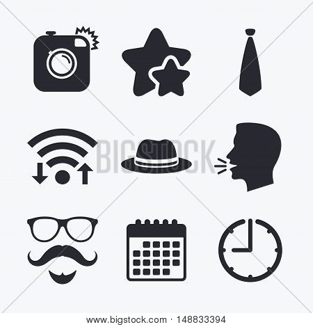 Hipster photo camera. Mustache with beard icon. Glasses and tie symbols. Classic hat headdress sign. Wifi internet, favorite stars, calendar and clock. Talking head. Vector