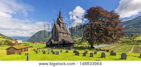 Panoramic view of Hopperstad stavkirke, wooden church, in Norway