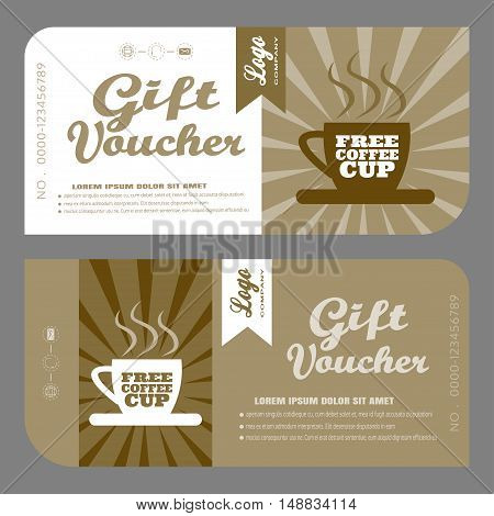 Blank of vector gift voucher to increase sales of coffee in cafe and mobile coffee cars.
