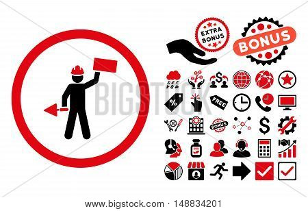Builder With Shovel icon with bonus pictograph collection. Vector illustration style is flat iconic bicolor symbols, intensive red and black colors, white background.