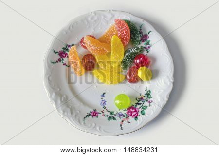 Colorful sweet jujube, jelly, candy, candy on a plate - clipping path isolated