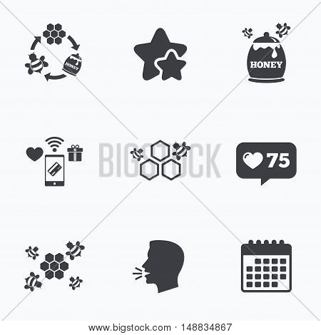 Honey icon. Honeycomb cells with bees symbol. Sweet natural food signs. Flat talking head, calendar icons. Stars, like counter icons. Vector