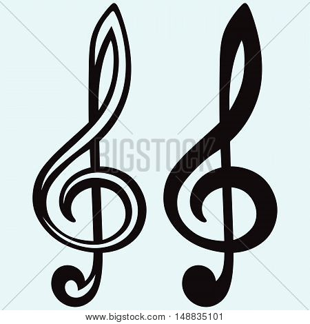 Treble clef sign. Isolated on blue background