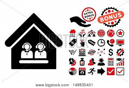 Call Center Office pictograph with bonus elements. Vector illustration style is flat iconic bicolor symbols, intensive red and black colors, white background.