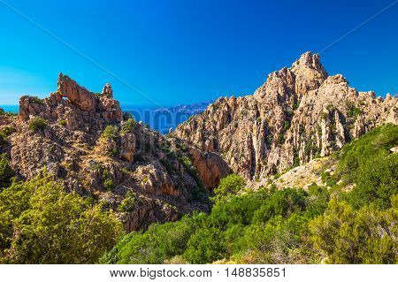 Stunning scenery of D81 road through the Calanques de Piana on the west coast of Corsica France Europe.