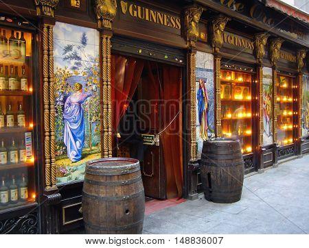Madrid-November 17; Shop window one of numerous old pub in Madrid-on November 17 2007 in Madrid Spain