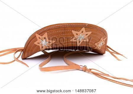 Brazilian leather hat, typical of the northeast Brazilian people, on a white background