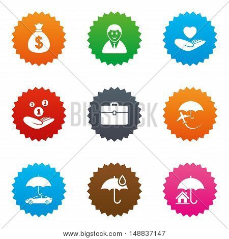 Insurance icons. Life, Real estate and House signs. Saving money, vehicle and umbrella symbols. Stars label button with flat icons. Vector