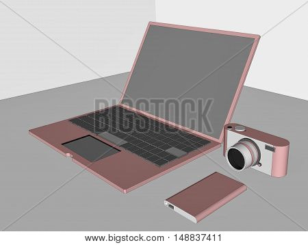 3D laptop, digital camera, and hard disk storage with rose pink color on table.