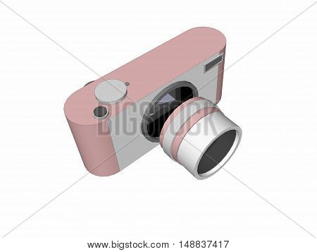 3D digital camera with rose pink color and retro design on white background.
