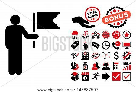 Commander With Flag icon with bonus design elements. Vector illustration style is flat iconic bicolor symbols intensive red and black colors white background.