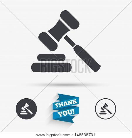 Auction hammer icon. Law judge gavel symbol. Flat icons. Buttons with icons. Thank you ribbon. Vector