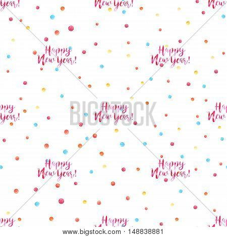 Vector hand drawn isolated text Happy New Year on balls pattern in watercolor. Red letters on white background.  Pattern for cards, invitations, banners, wallpaper.