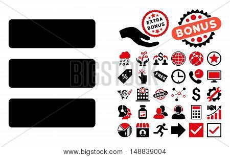 Database pictograph with bonus elements. Vector illustration style is flat iconic bicolor symbols, intensive red and black colors, white background.