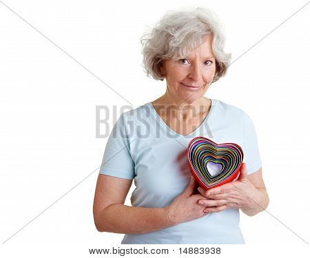Elderly Woman With Different Hearts
