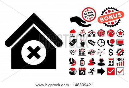 Delete Building pictograph with bonus icon set. Vector illustration style is flat iconic bicolor symbols, intensive red and black colors, white background.